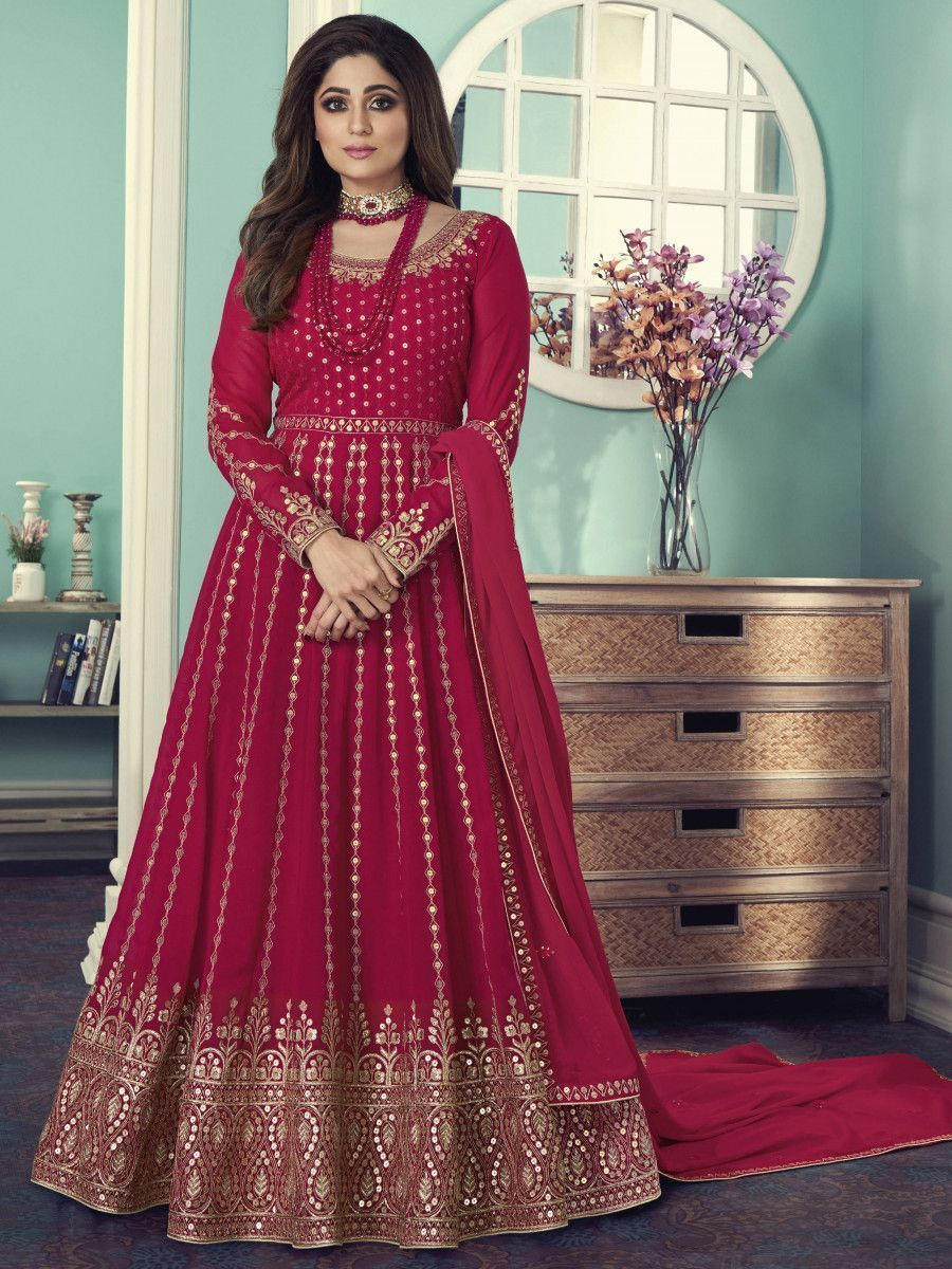 Hot Pink Sequined Georgette Wedding Wear Gown With Dupatta