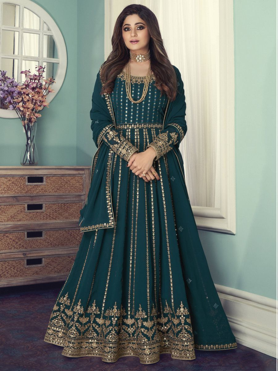 Teal Green Sequined Georgette Wedding Wear Gown With Dupatta