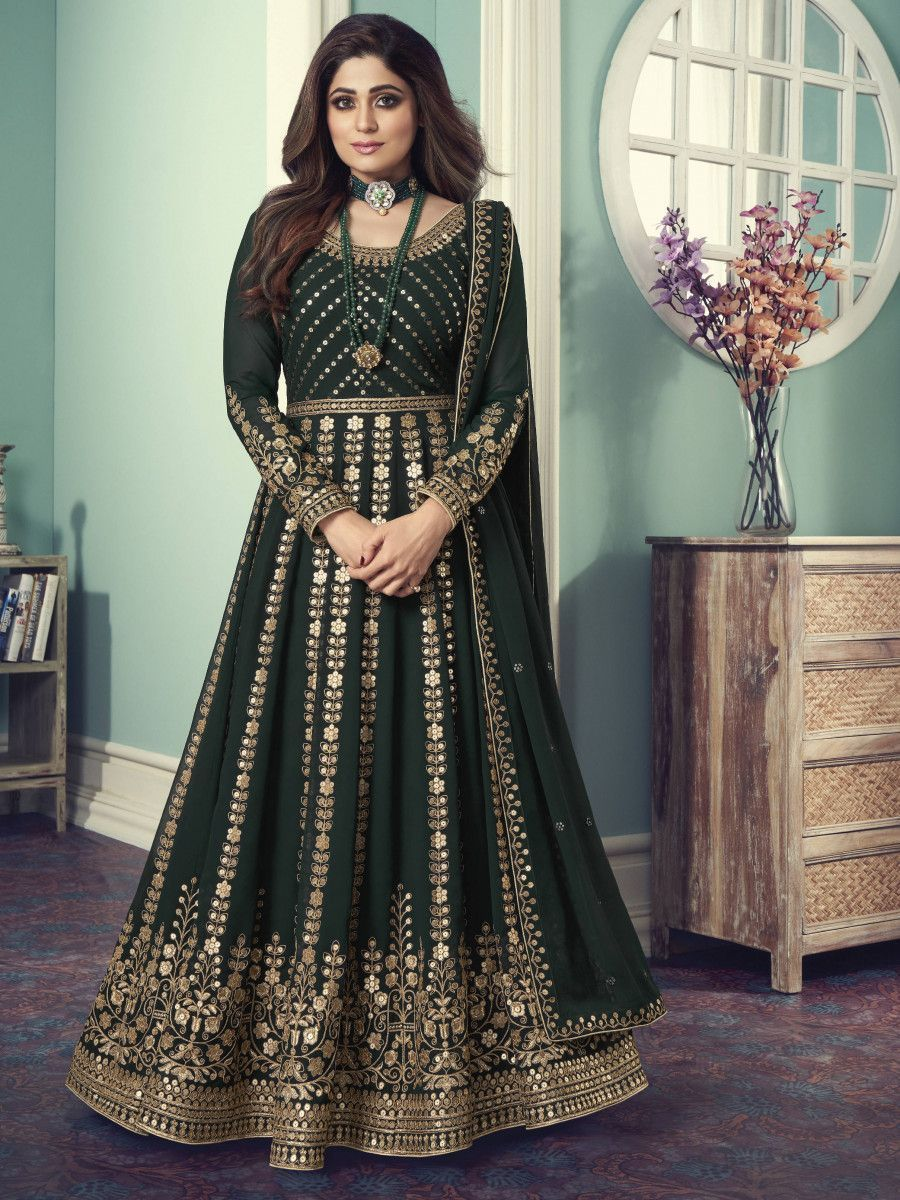 Green Sequined Georgette Wedding Wear Gown With Dupatta