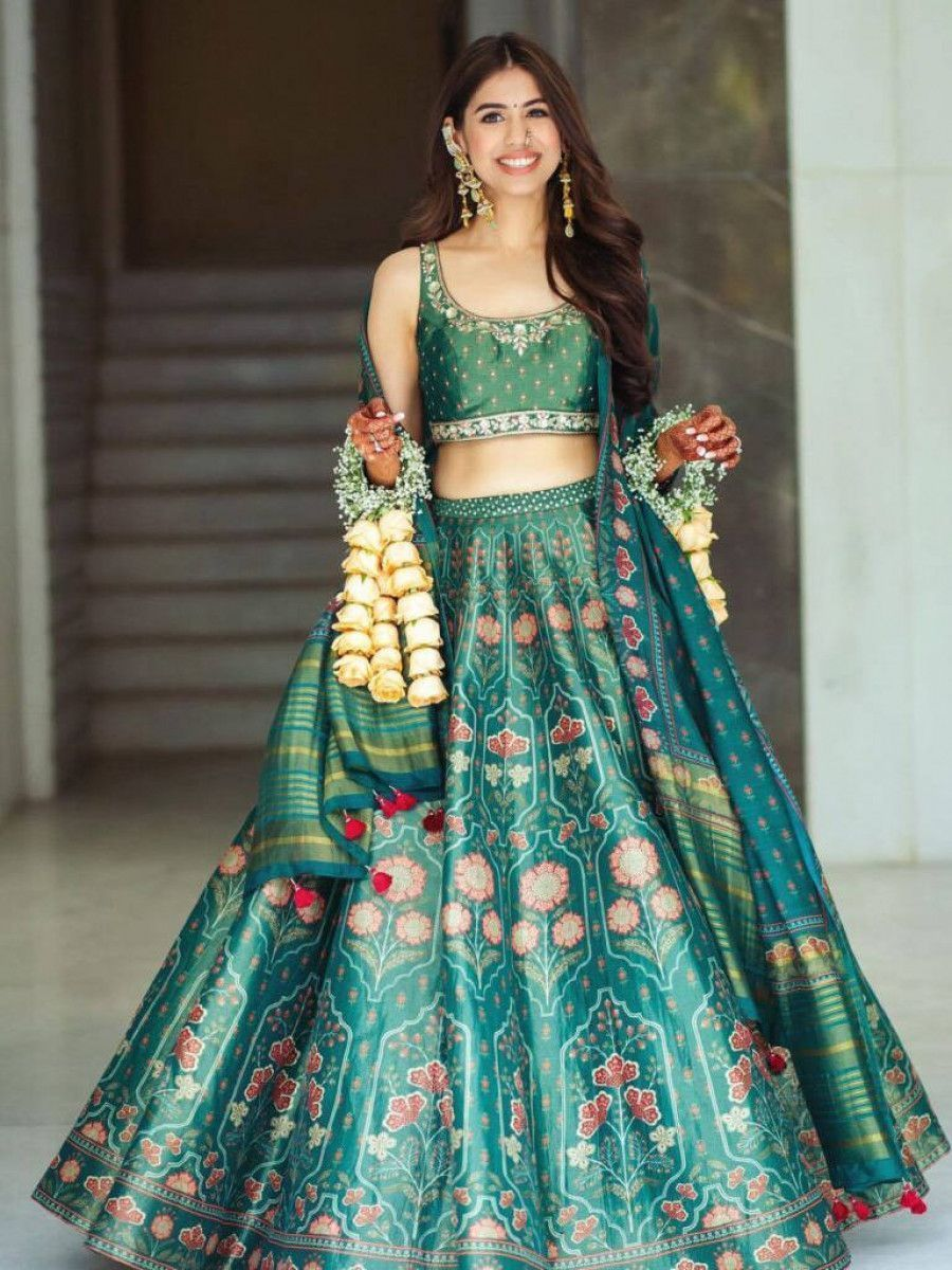 Green Printed Taffeta Silk Wedding Wear Lehenga Choli