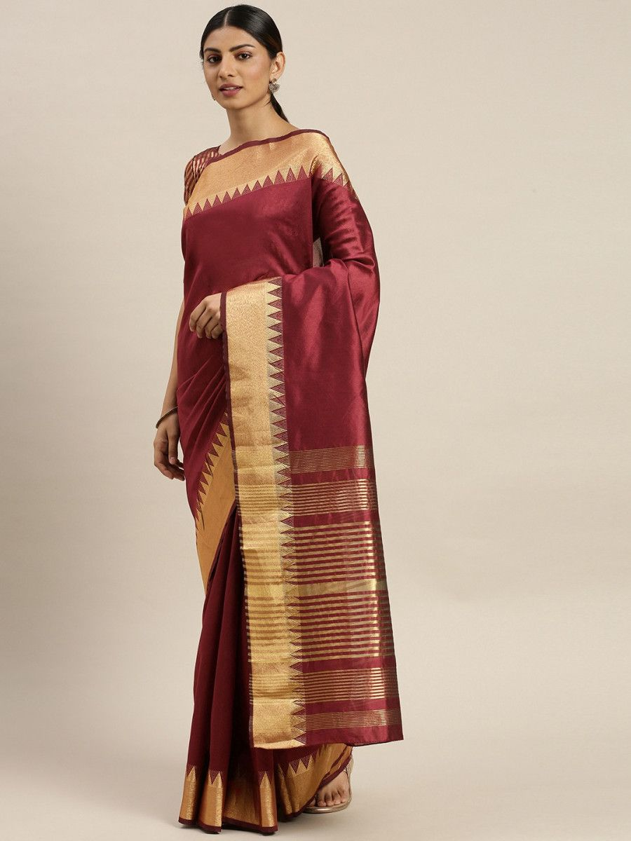 Maroon & Gold-Toned Silk Blend Solid Banarasi Myntra Saree