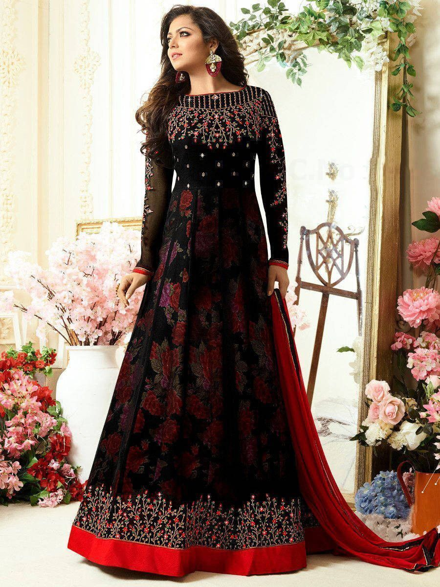 Drashti Dhami Black Embroidered Georgette Party Wear Anarkali Suit
