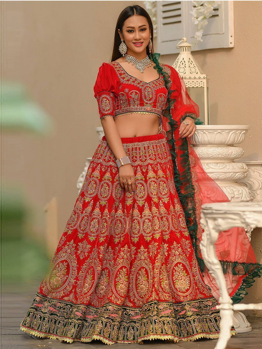 Red Embroidered Velvet Bridal Lehenga Choli With Frilled Dupatta