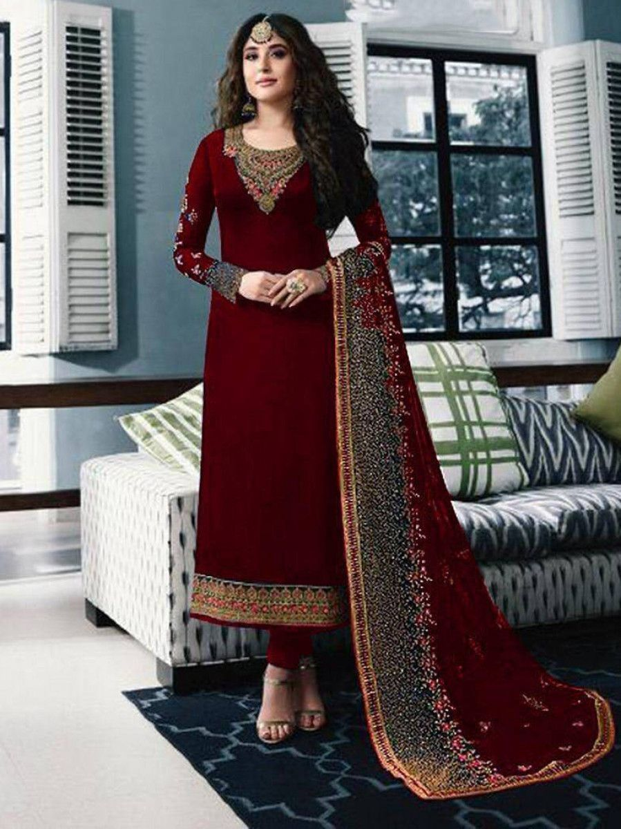 Kritika Kamra Red Embroidered Georgette Festive Salwar Kameez