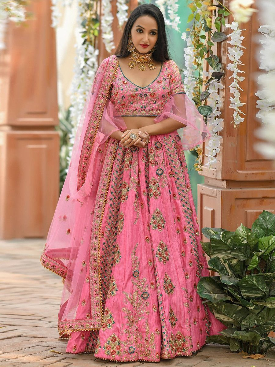 Pink Bell Sleeved Embroidered Silk Wedding Wear Lehenga Choli