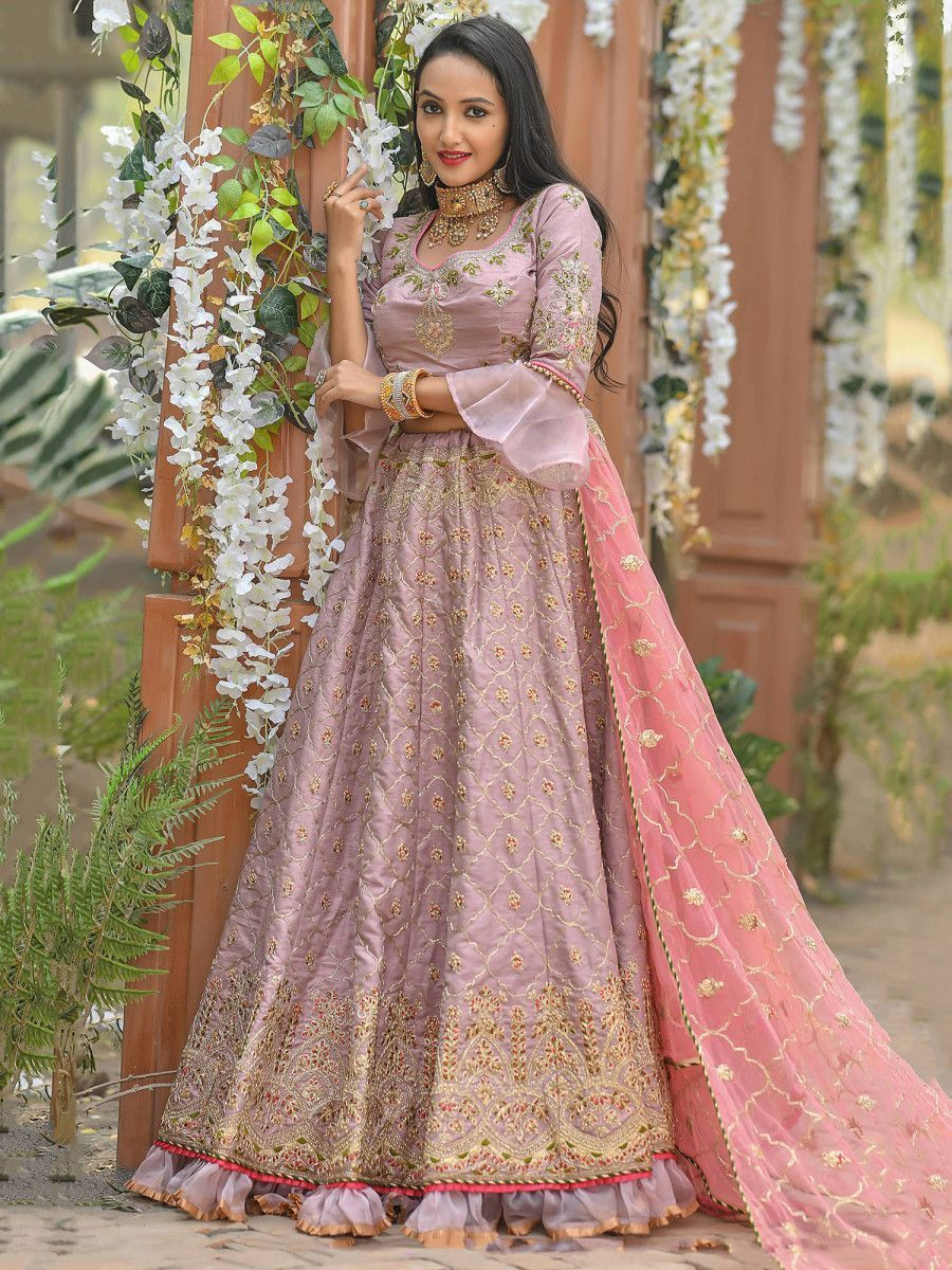 Pink Zari Embroidered Silk Festive Wear Ruffle Lehenga Choli
