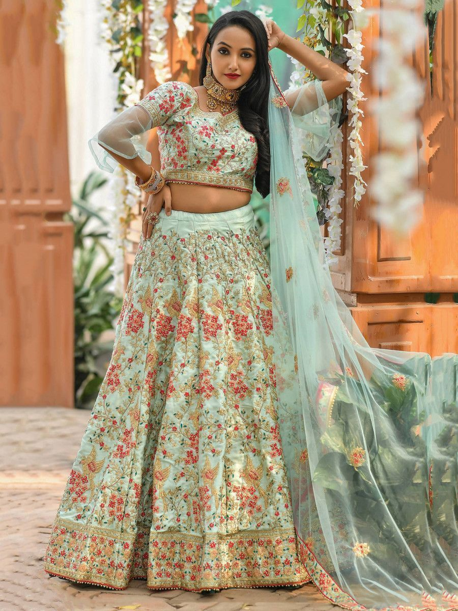 Blue Resham Embroidered Silk Wedding Wear Lehenga Choli