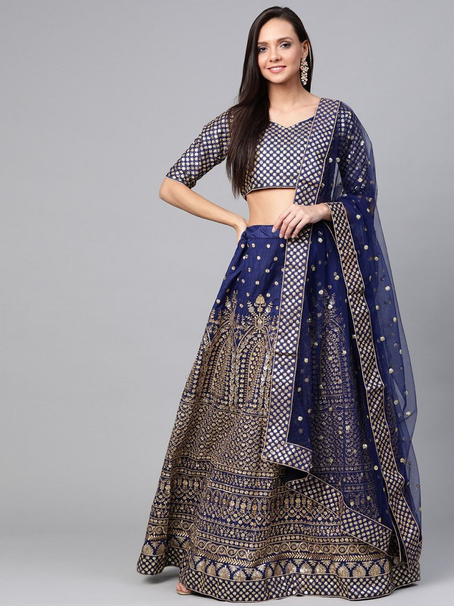 Navy Blue Embroidered Semi-Stitched Myntra Lehenga & Unstitched Blouse with Dupatta
