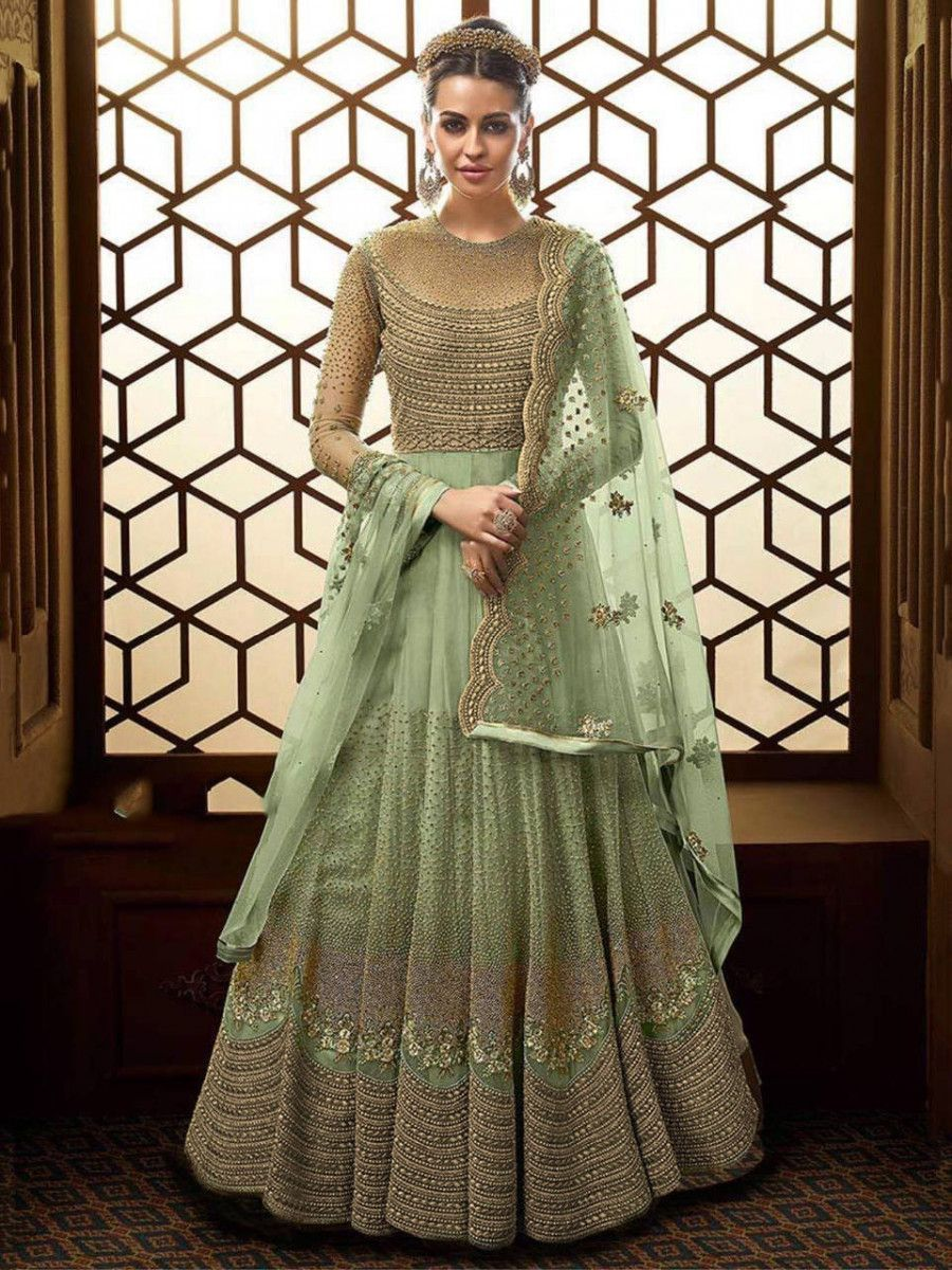 Green Embroidered Net Wedding Wear Long Gown With Dupatta