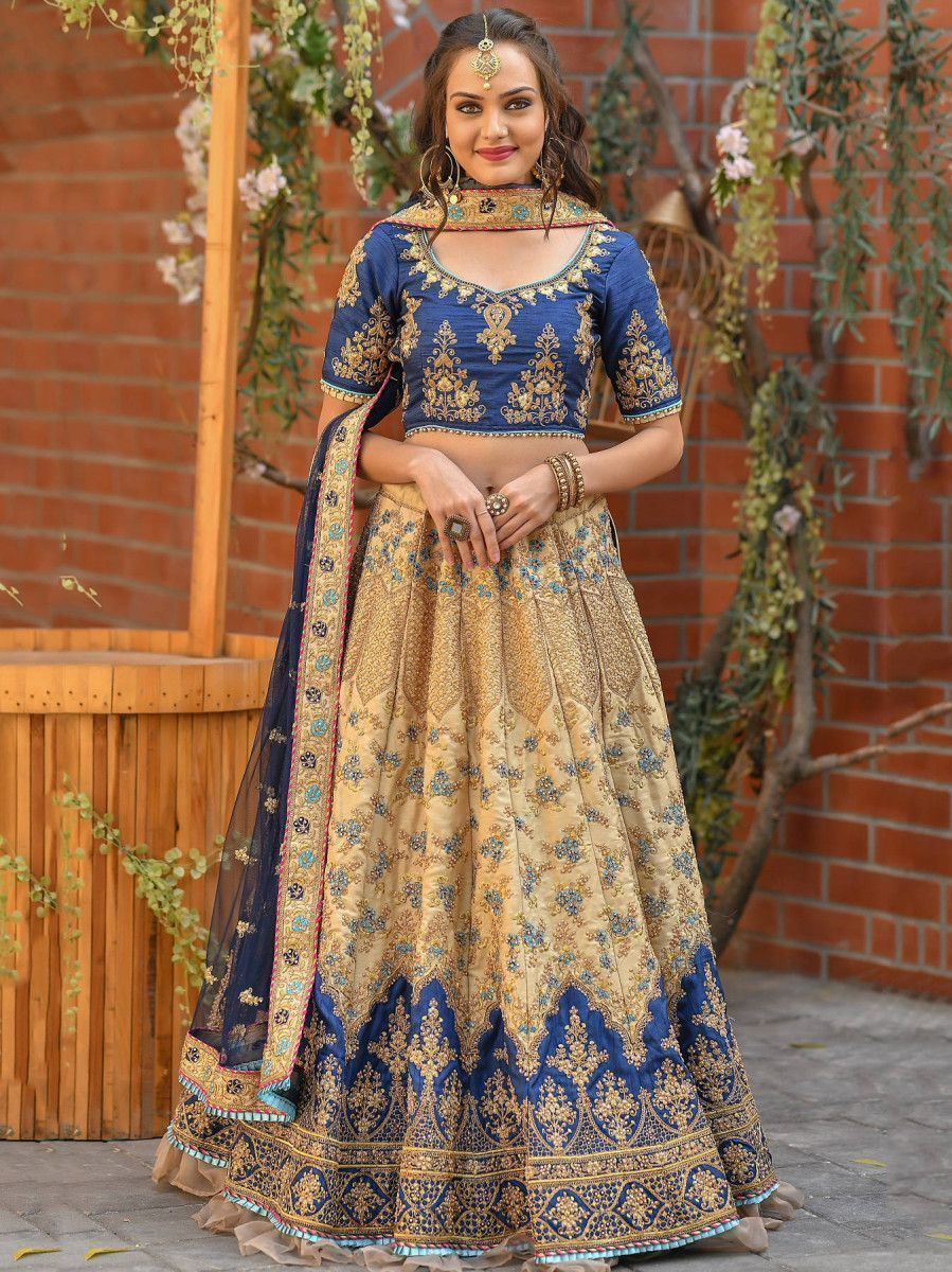 Cream-Blue Resham Embroidered Silk Wedding Wear Lehenga Choli