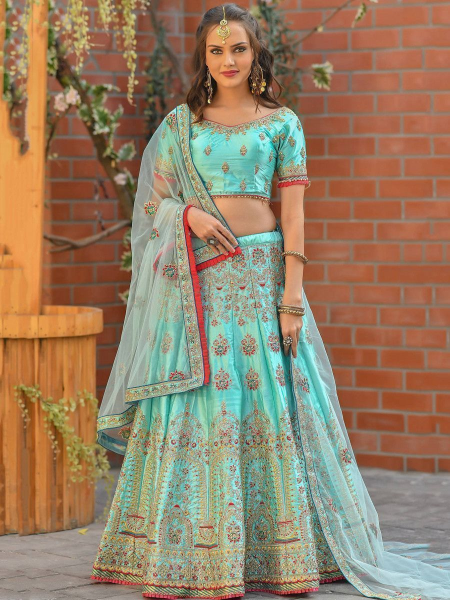 Sky Blue Resham Embroidered Satin Wedding Wear Lehenga Choli