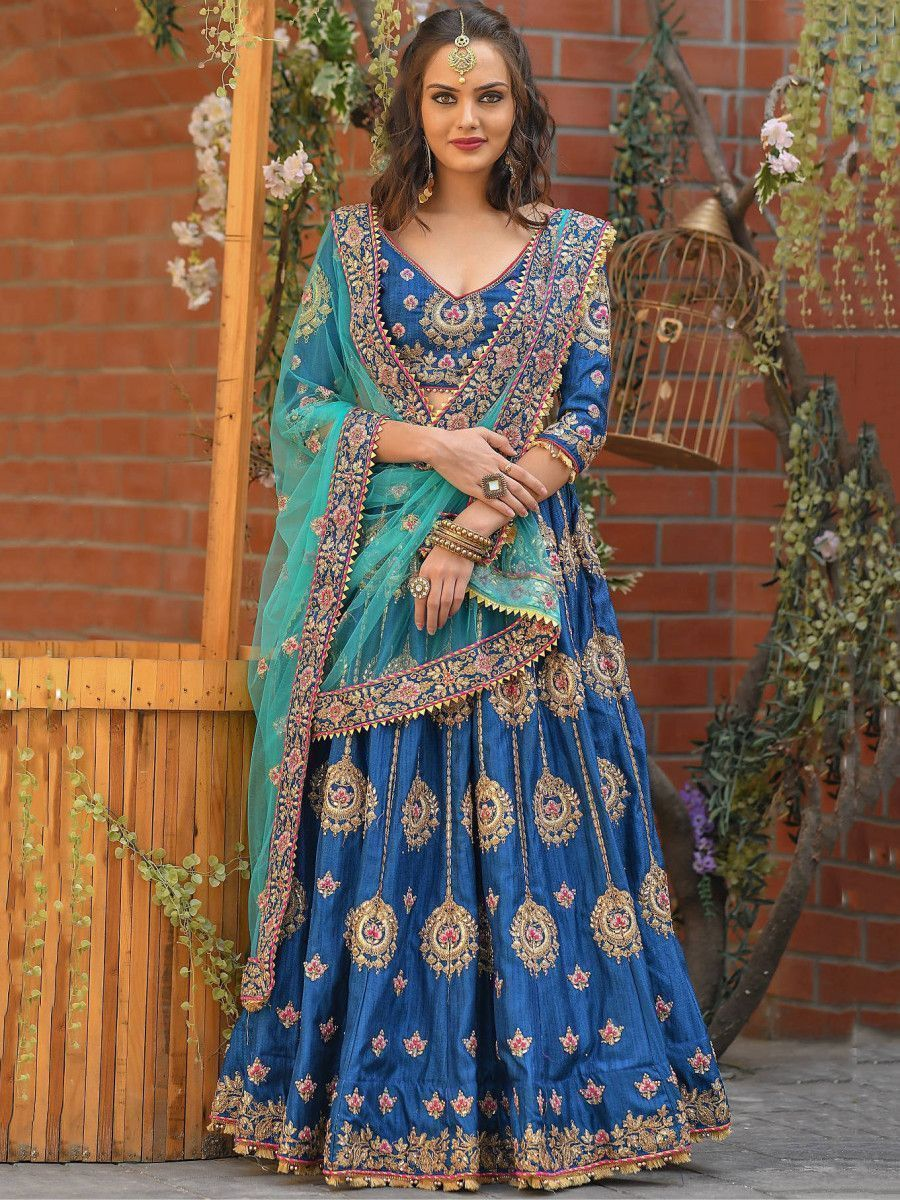 Blue Resham Embroidered Silk Wedding Wear Lehenga Choli With Dupatta