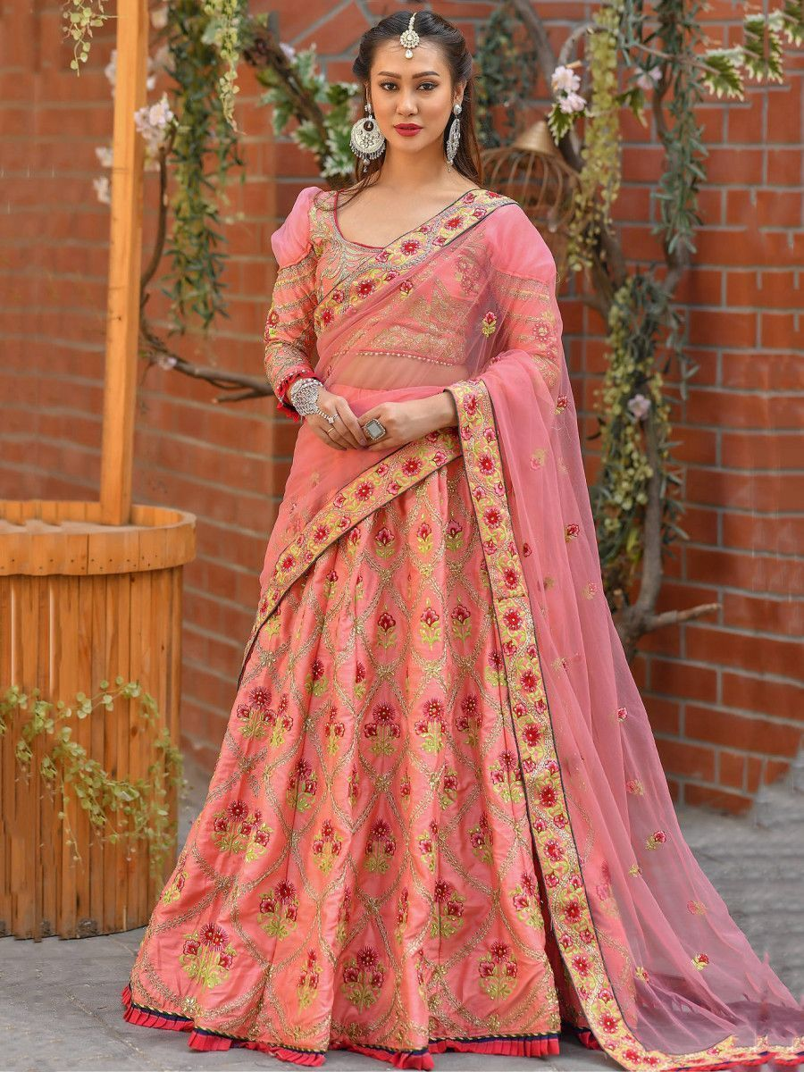 Pink Embroidered Silk Wedding Wear Lehenga Choli With Dupatta