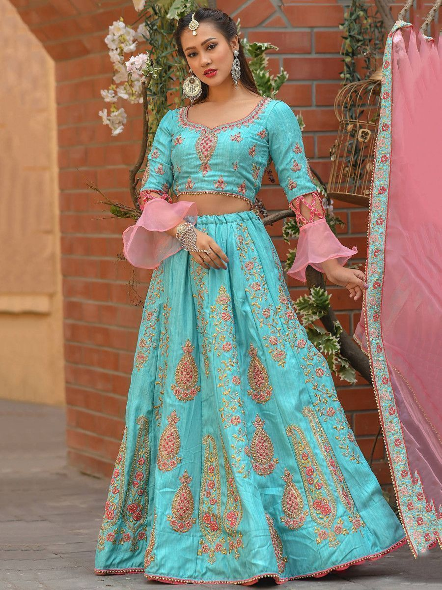 Sky Blue Embroidered Silk Wedding Wear Lehenga Choli With Dupatta