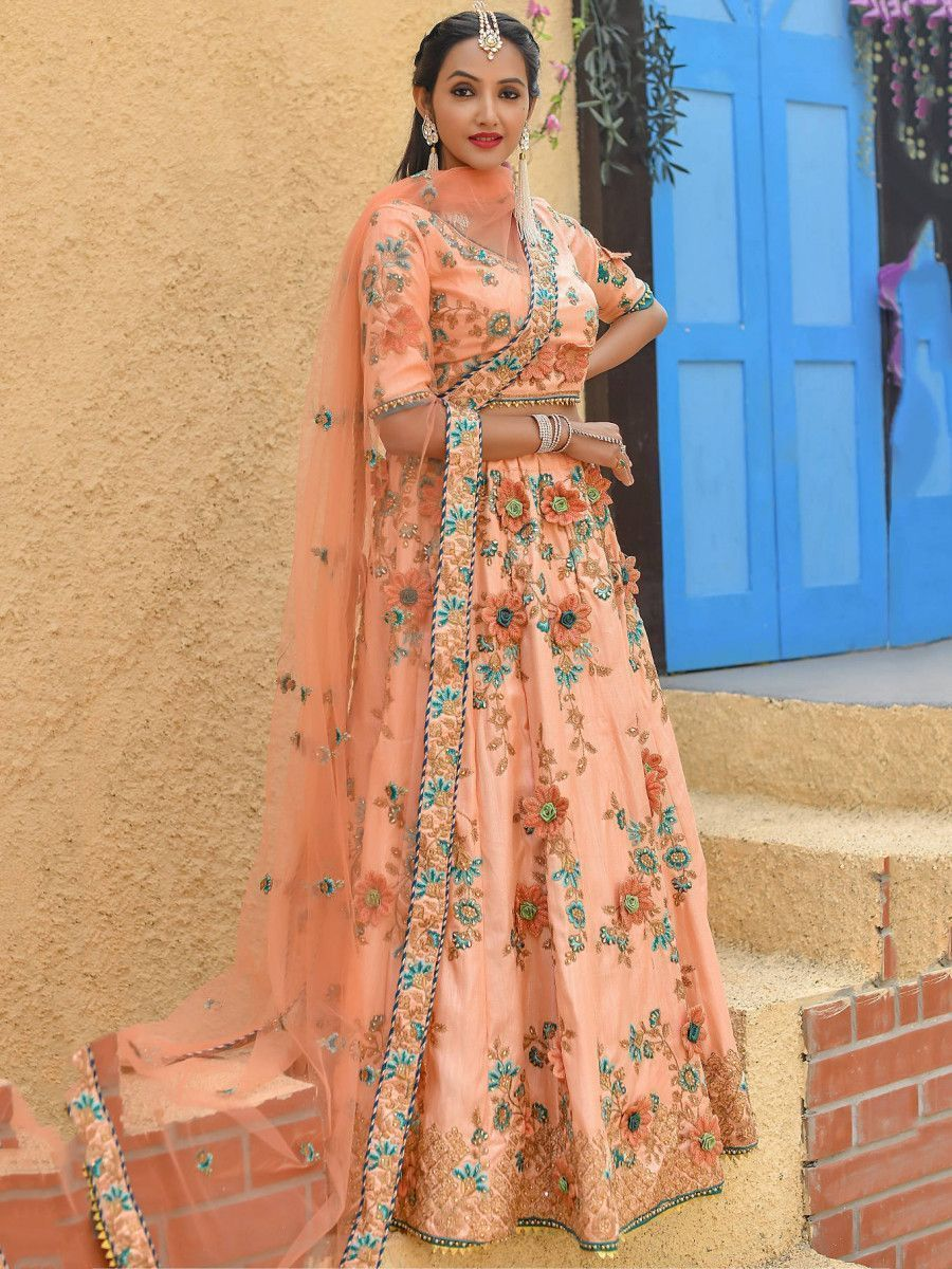 Peach Embroidered Silk Wedding Wear Lehenga Choli With Dupatta