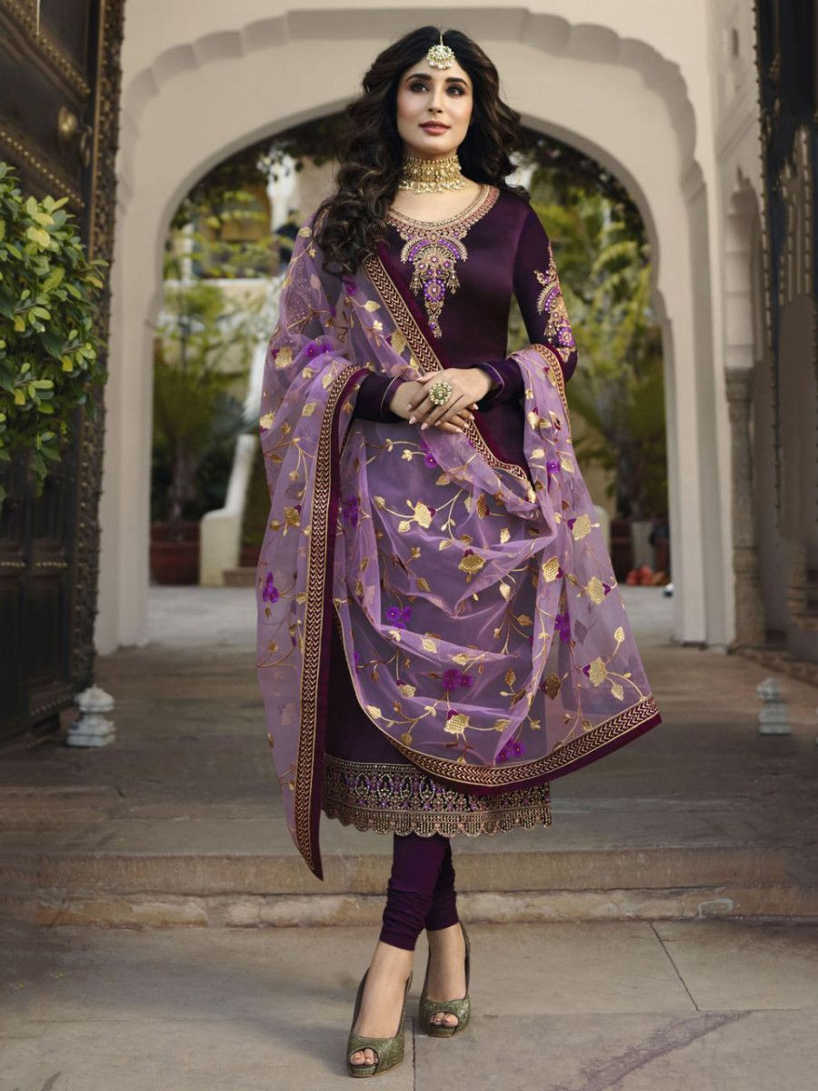 Kritika Kamra Wine Embroidered Satin Party Wear Salwar Kameez
