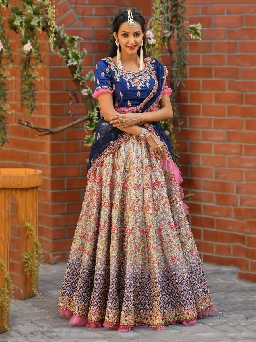 Grey-Blue Shaded Embroidery Satin Bridal Lehenga Choli With Blue Dupatta