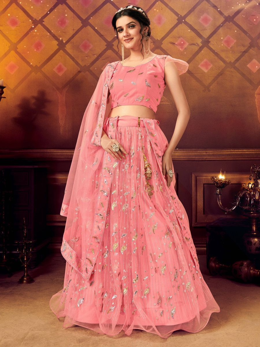 Pink Ruffle Sequins Soft Net Party Wear Lehenga Choli