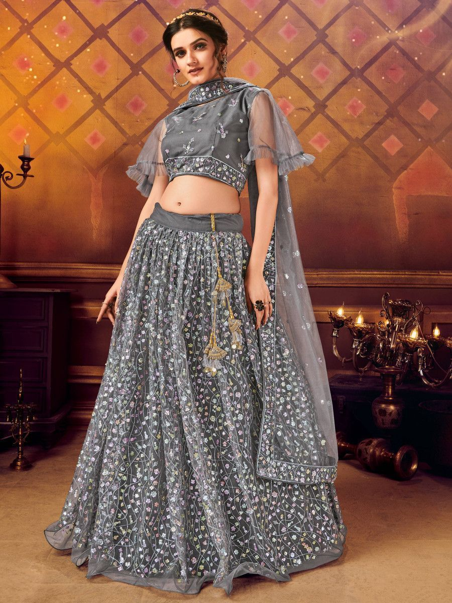 Grey Ruffle Sequins Soft Net Party Wear Lehenga Choli
