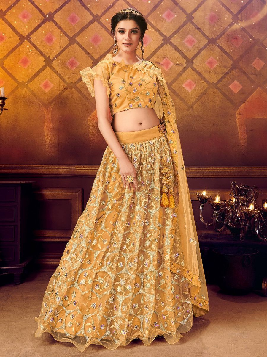 Mustard Yellow Soft Net Embroidered Party Wear Lehenga Choli
