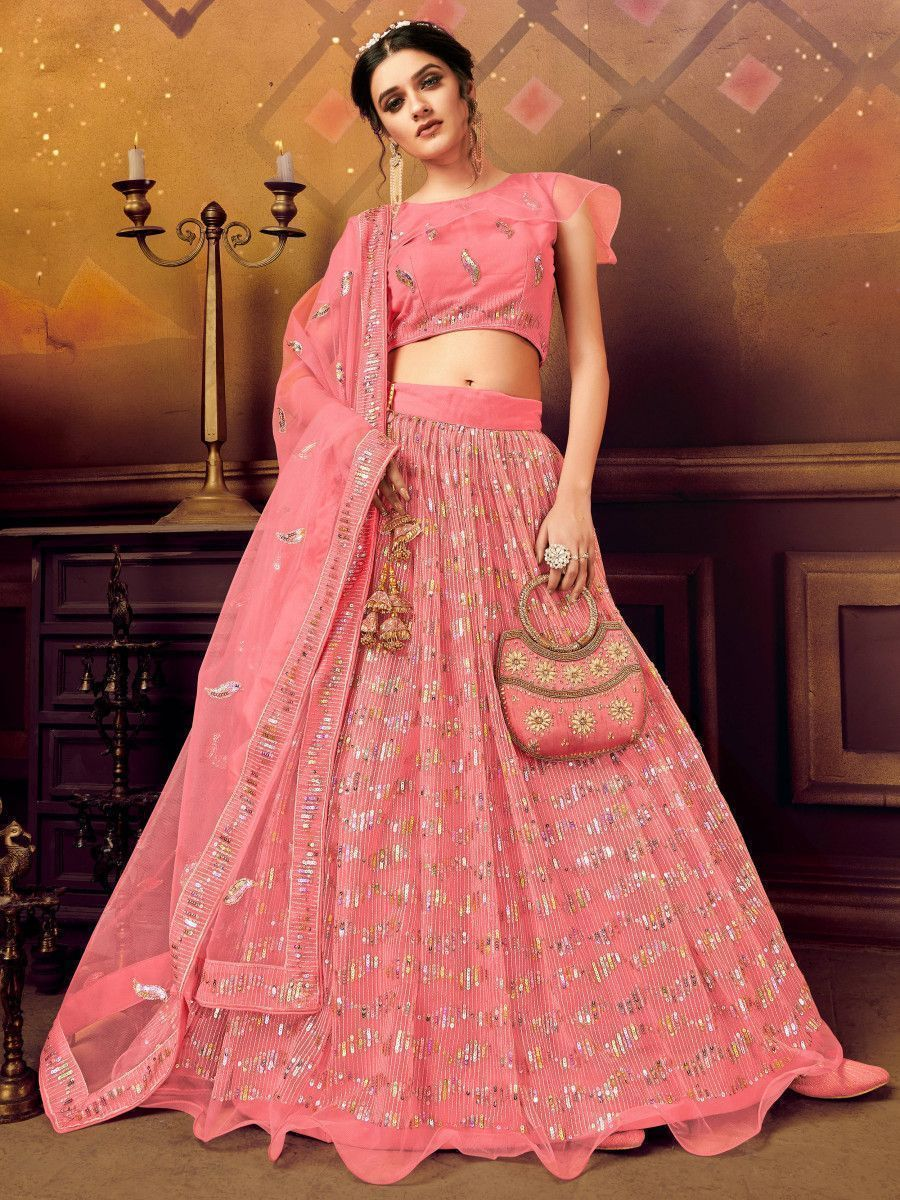Pink Sequins Soft Net Party Wear Lehenga Choli
