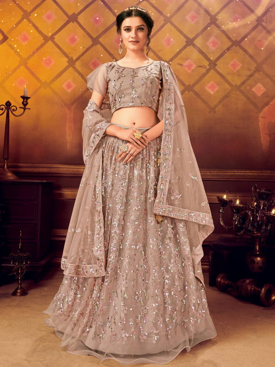 Dusty Brown Sequins Soft Net Party Wear Lehenga Choli