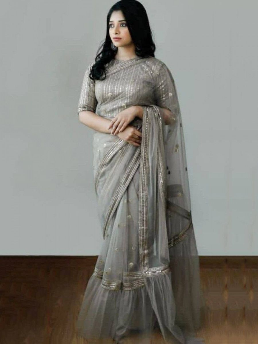 Grey Sequins Net Party Wear Ruffle Saree