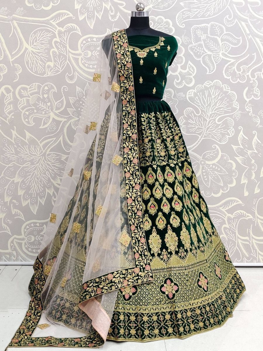 Bottle Green Zari Pure Velvet Bridal Lehenga Choli