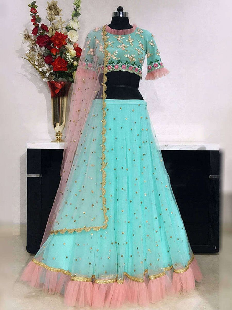 Turquoise Embroidery Net Festive Wear Ruffle Lehenga Choli With Pink Dupatta
