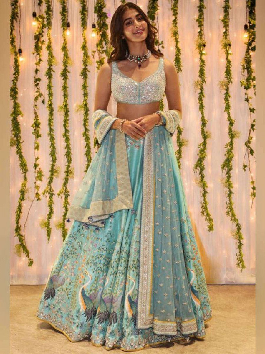 Pooja Hegde Sky Blue Printed Satin Silk Festive Wear Lehenga Choli With Dupatta