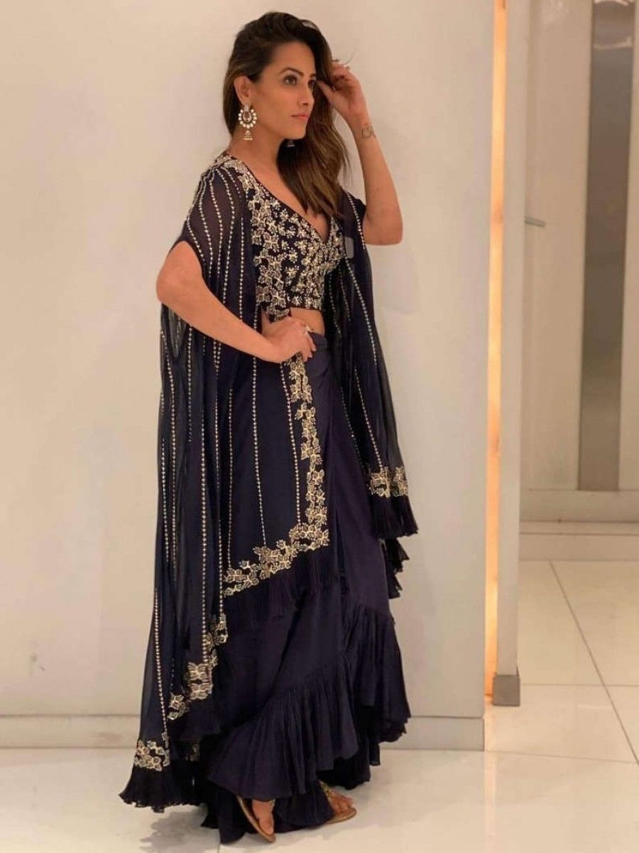 Anita Hassanandani Navy Blue Georgette Party Wear Indo-Western Lehenga Choli With Frill Shrug