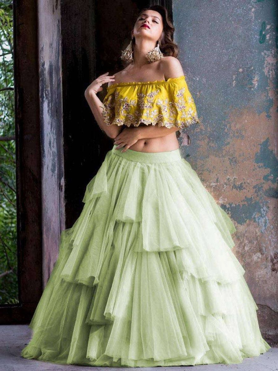 Pista Green Embroidery Net Party Wear Ruffle Lehenga With Yellow Crop Top