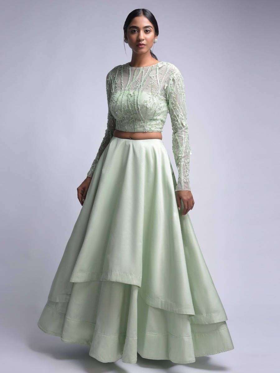 Mint Green Embroidered Satin Two Layer Party Wear Crop Top Lehenga Choli