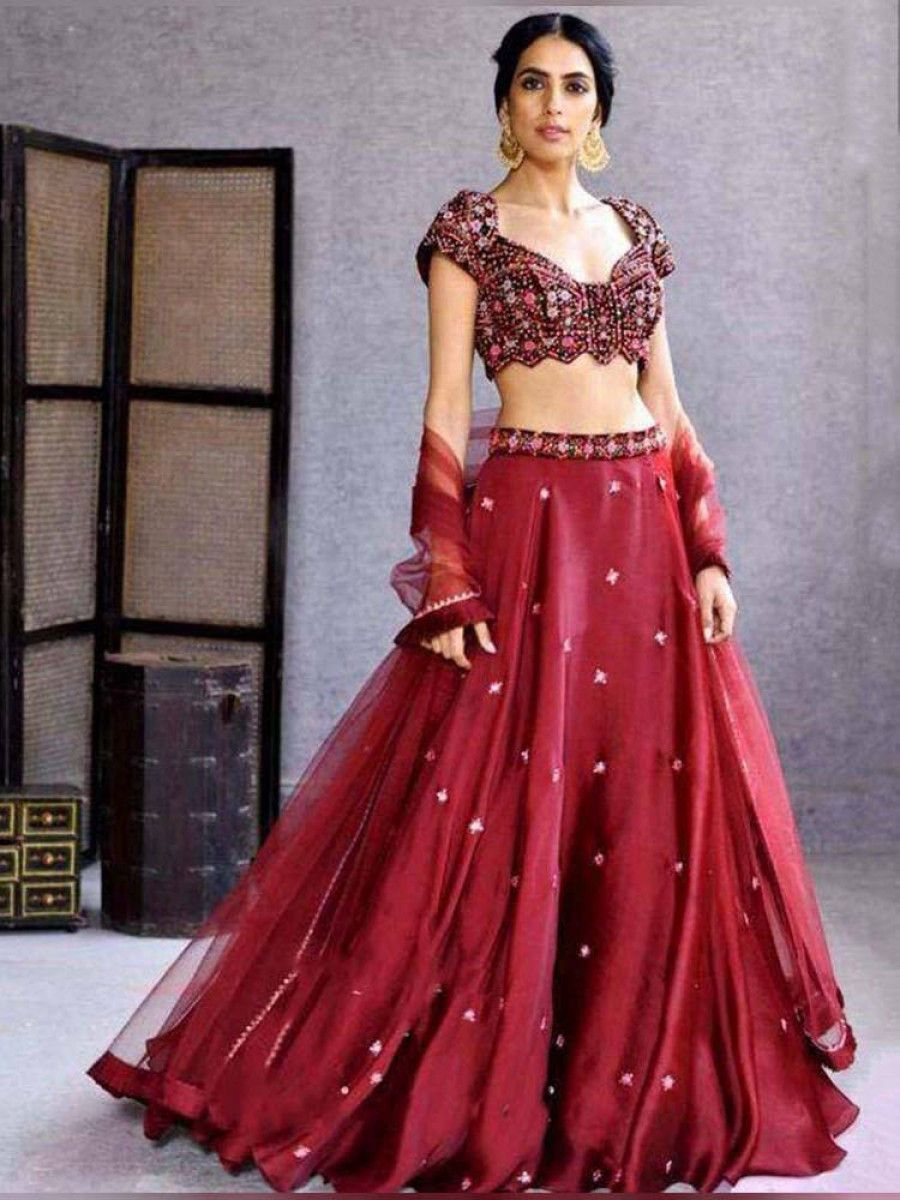 Maroon Embroidered Satin Georgette Festive Wear Lehenga Choli