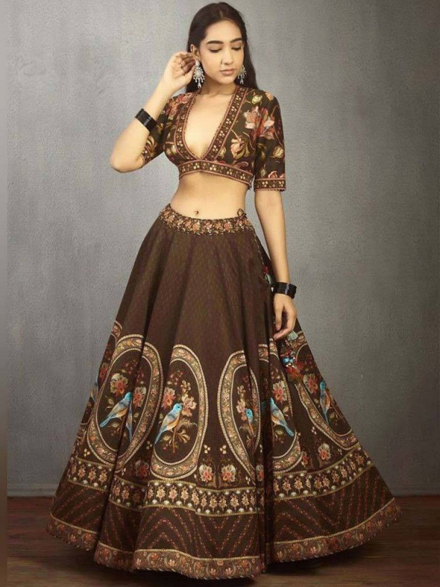 Coffee Brown Sparrow Printed Designer Lehenga Choli