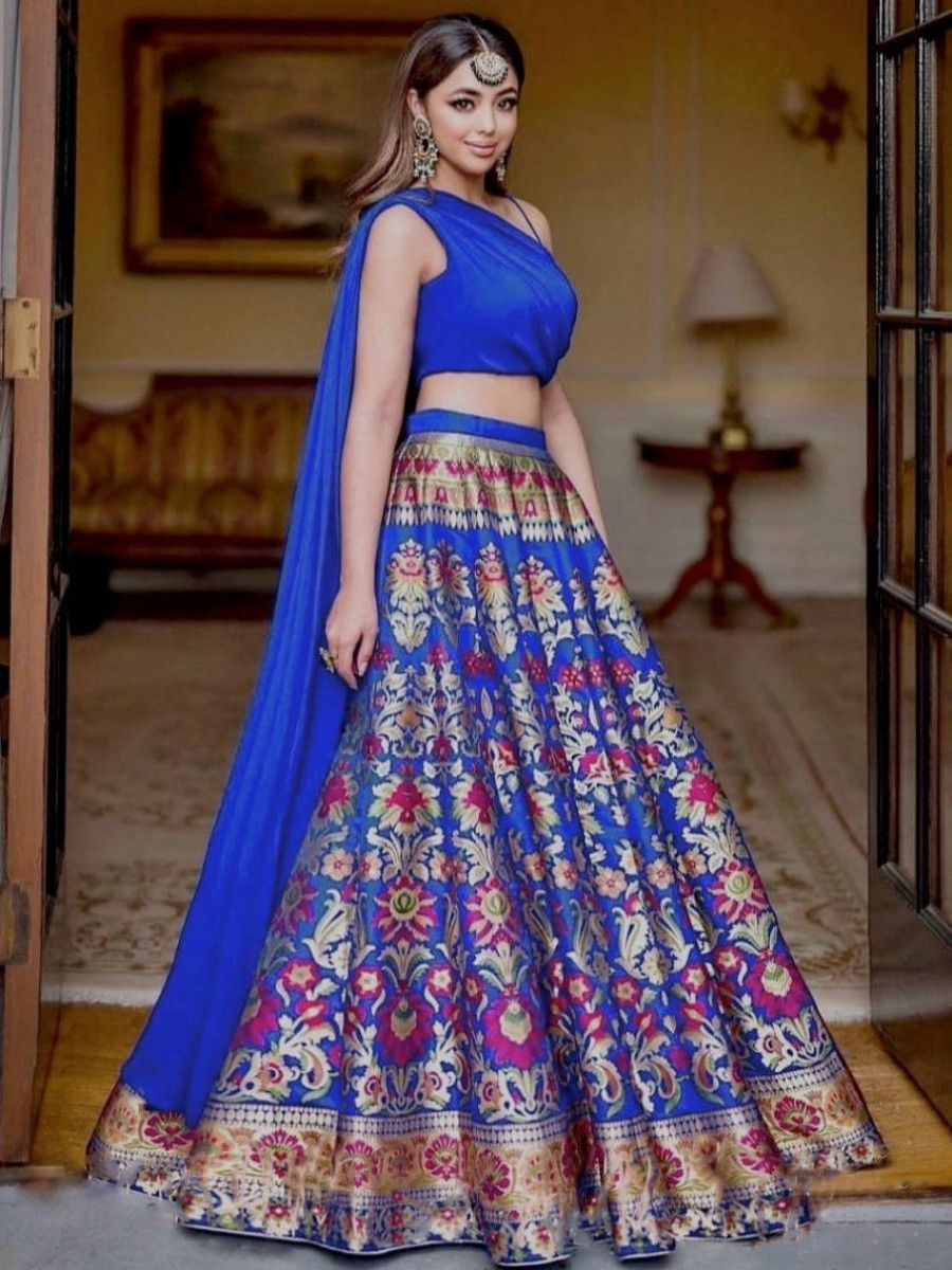 Blue Digital Printed Satin Indo-Western Lehenga Choli