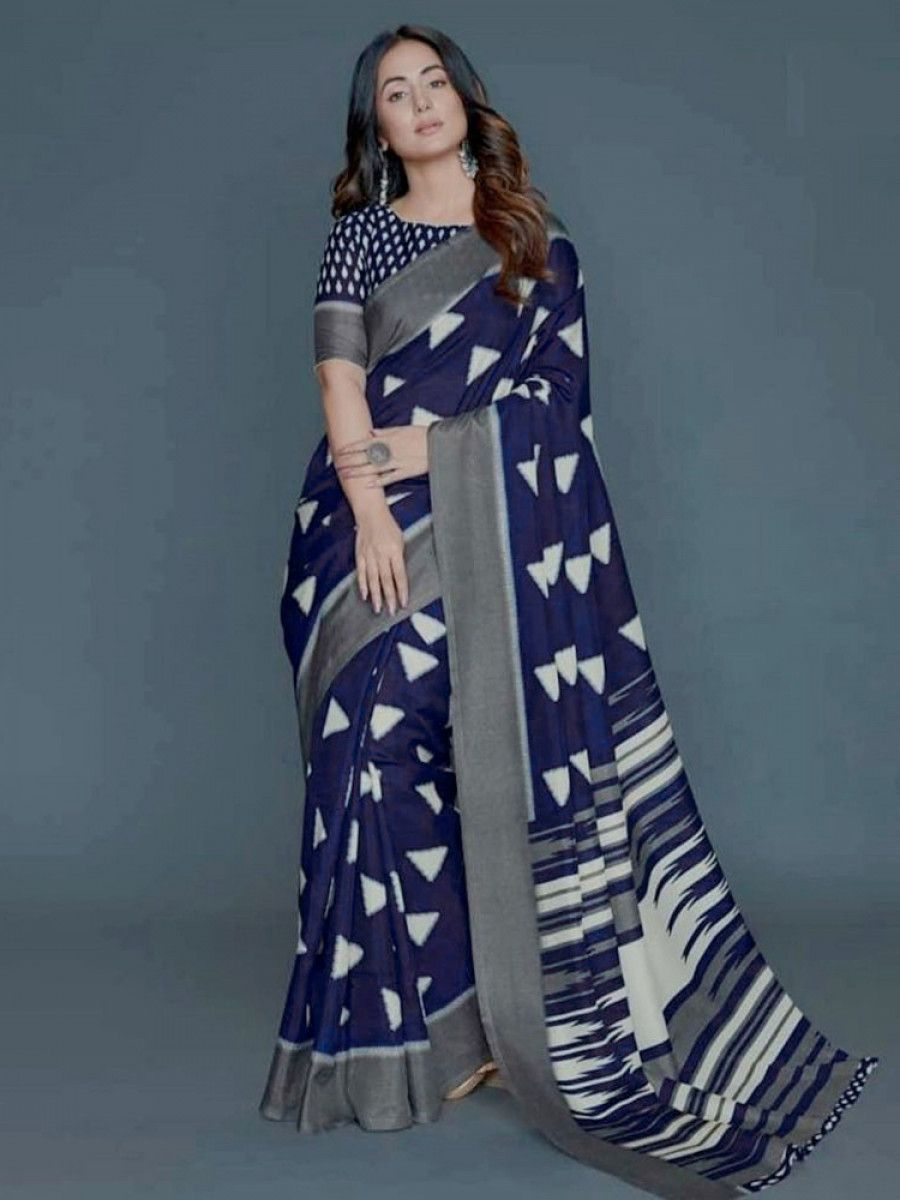 Hina Khan Navy Blue Printed Silk Festive Saree With Blouse