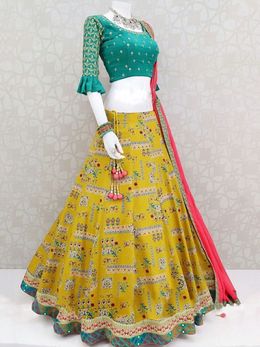 Yellow Printed Italian Silk Traditional Lehenga Choli With Dupatta