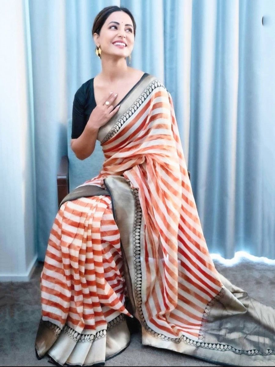 Hina Khan Orange Striped Georgette Festival Wear Saree