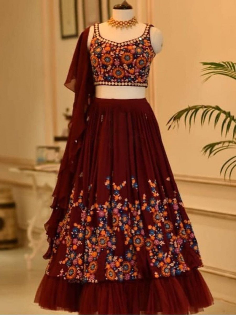 Maroon Thread Embroidered Georgette Wedding Wear Lehenga Choli