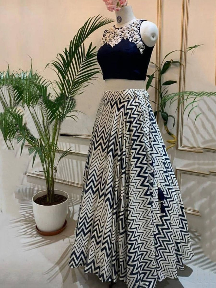 White-Navy Blue Zig-Zag Printed Crape Silk Party Wear Crop Top With Lehenga