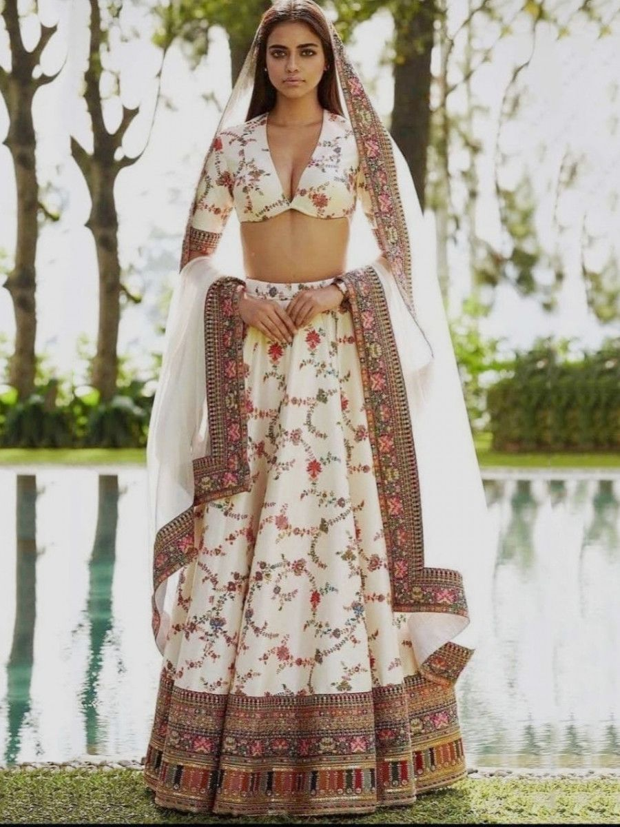 Sabyasachi Off White Printed Taffeta Silk Wedding Lehenga Choli