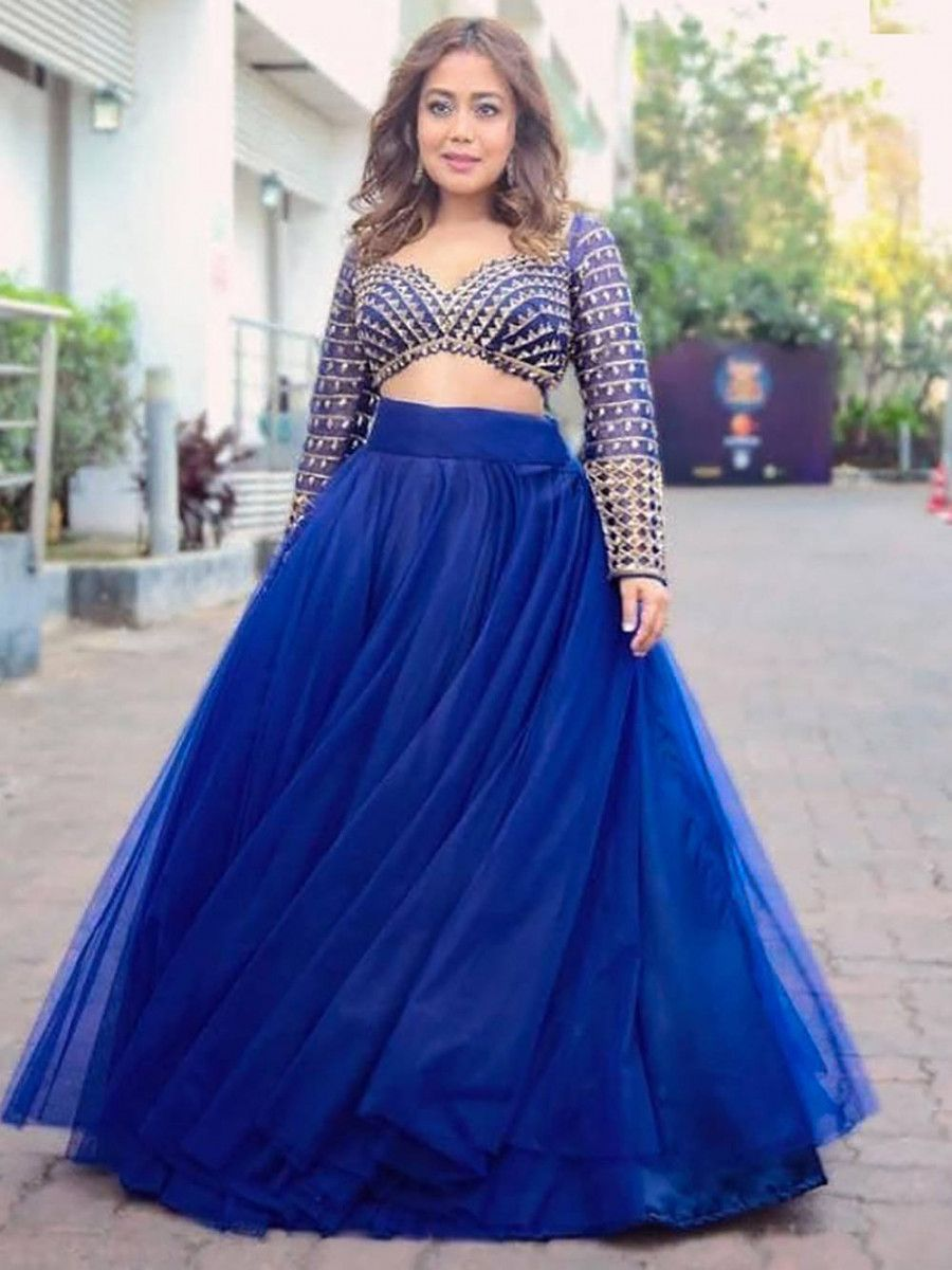 Neha Kakkar Royal Blue flared Net Party Wear Crop Top Lehenga