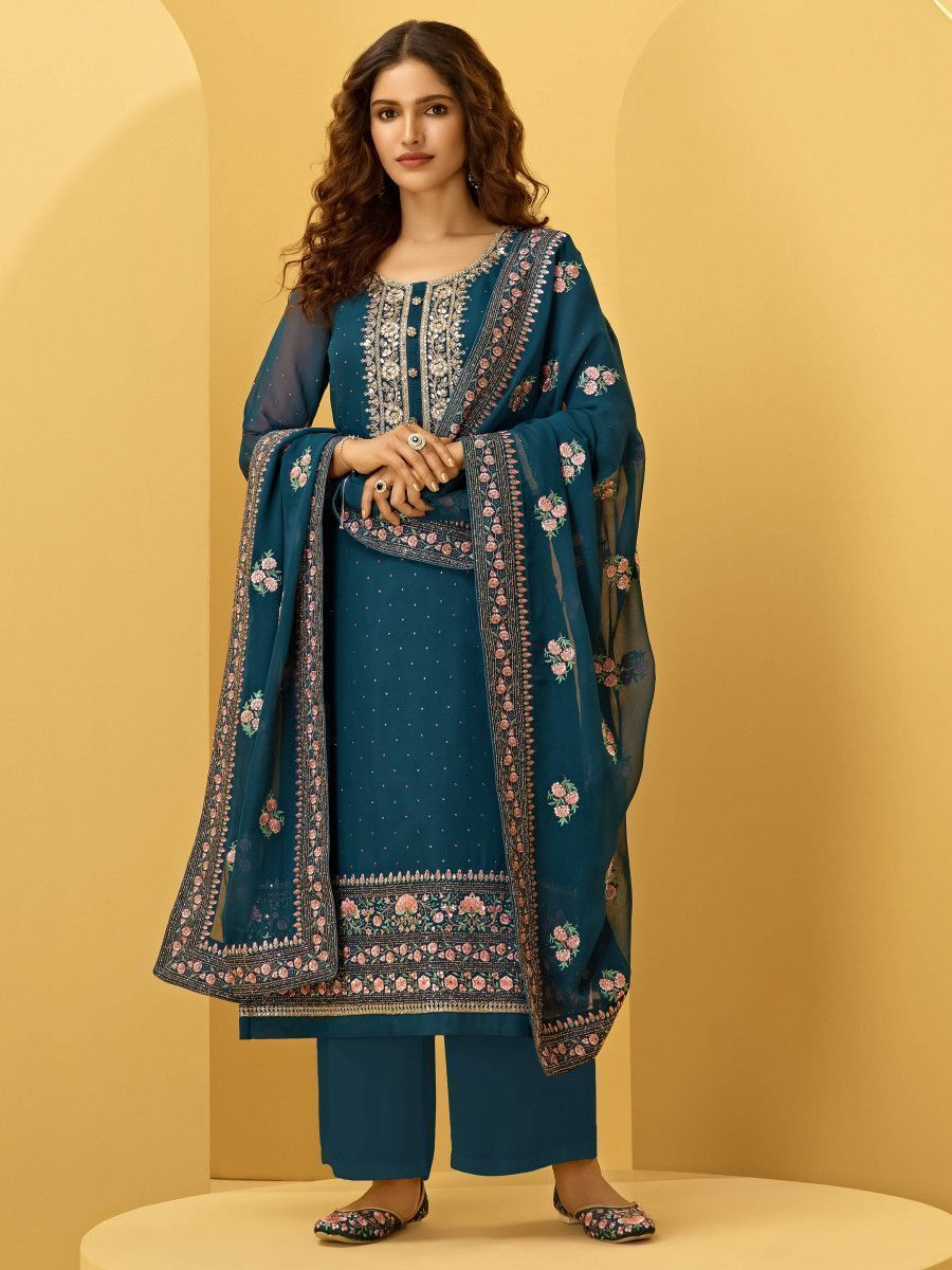 Teal Blue Georgette Thread Embroidered Festive Palazzo Suit