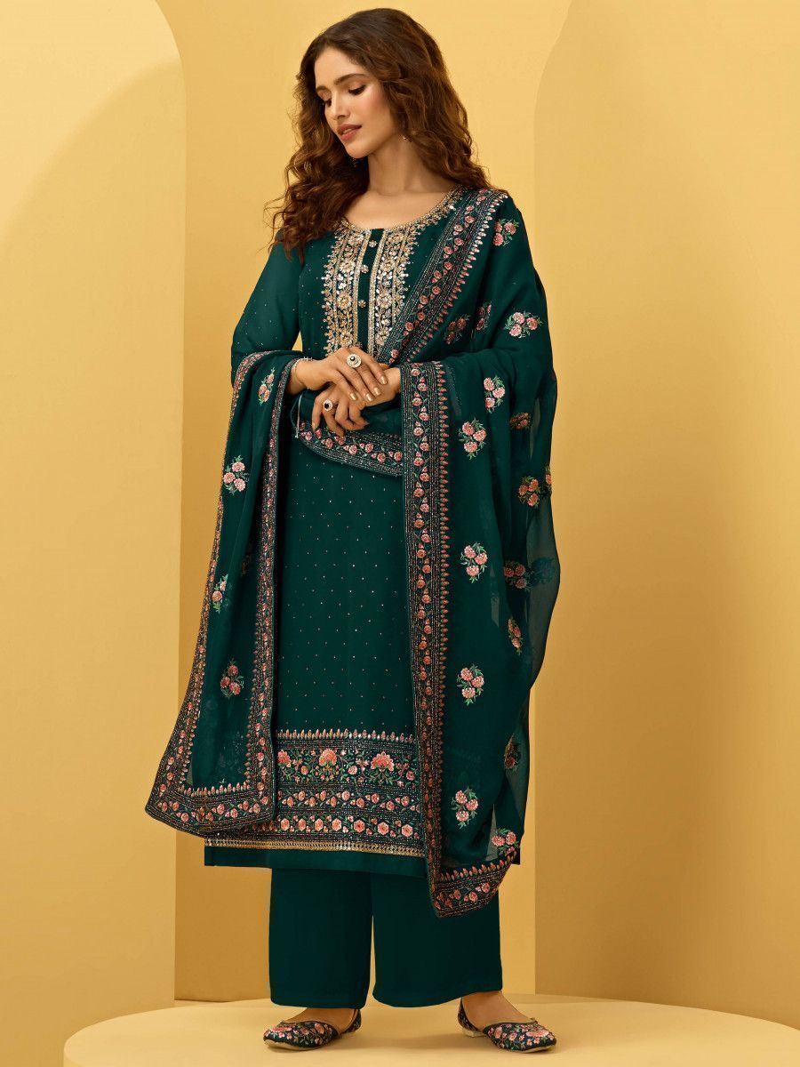 Rama Green Georgette Thread Embroidered Festive Palazzo Suit