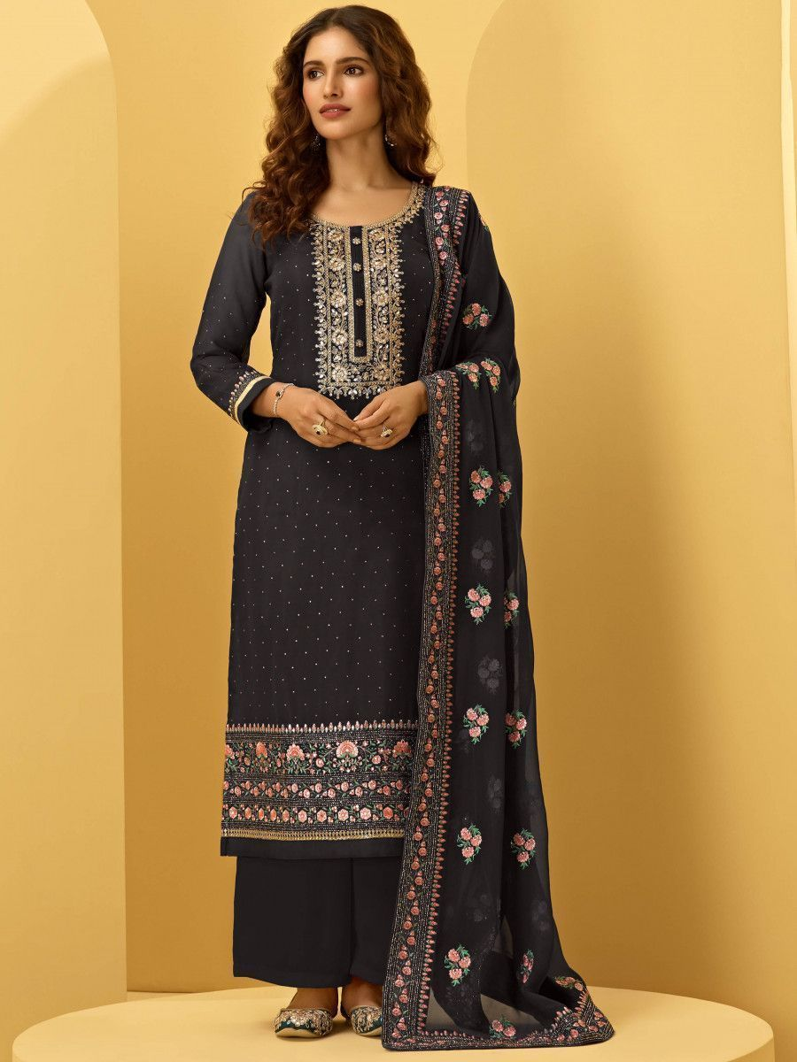 Black Georgette Thread Embroidered Festive Palazzo Suit