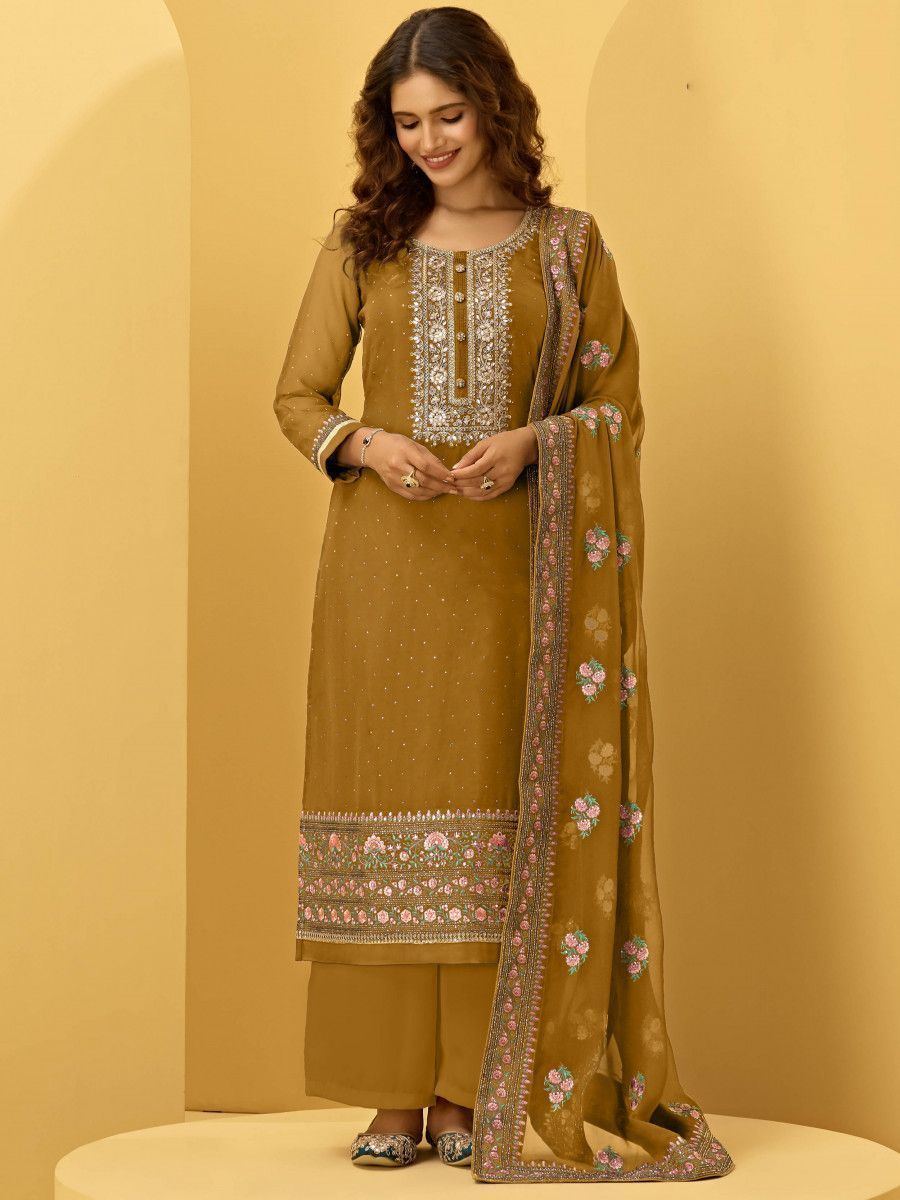 Yellow Georgette Thread Embroidered Festive Palazzo Suit