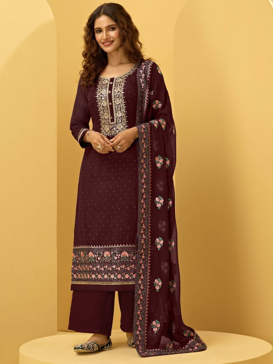Wine Georgette Thread Embroidered Festive Palazzo Suit