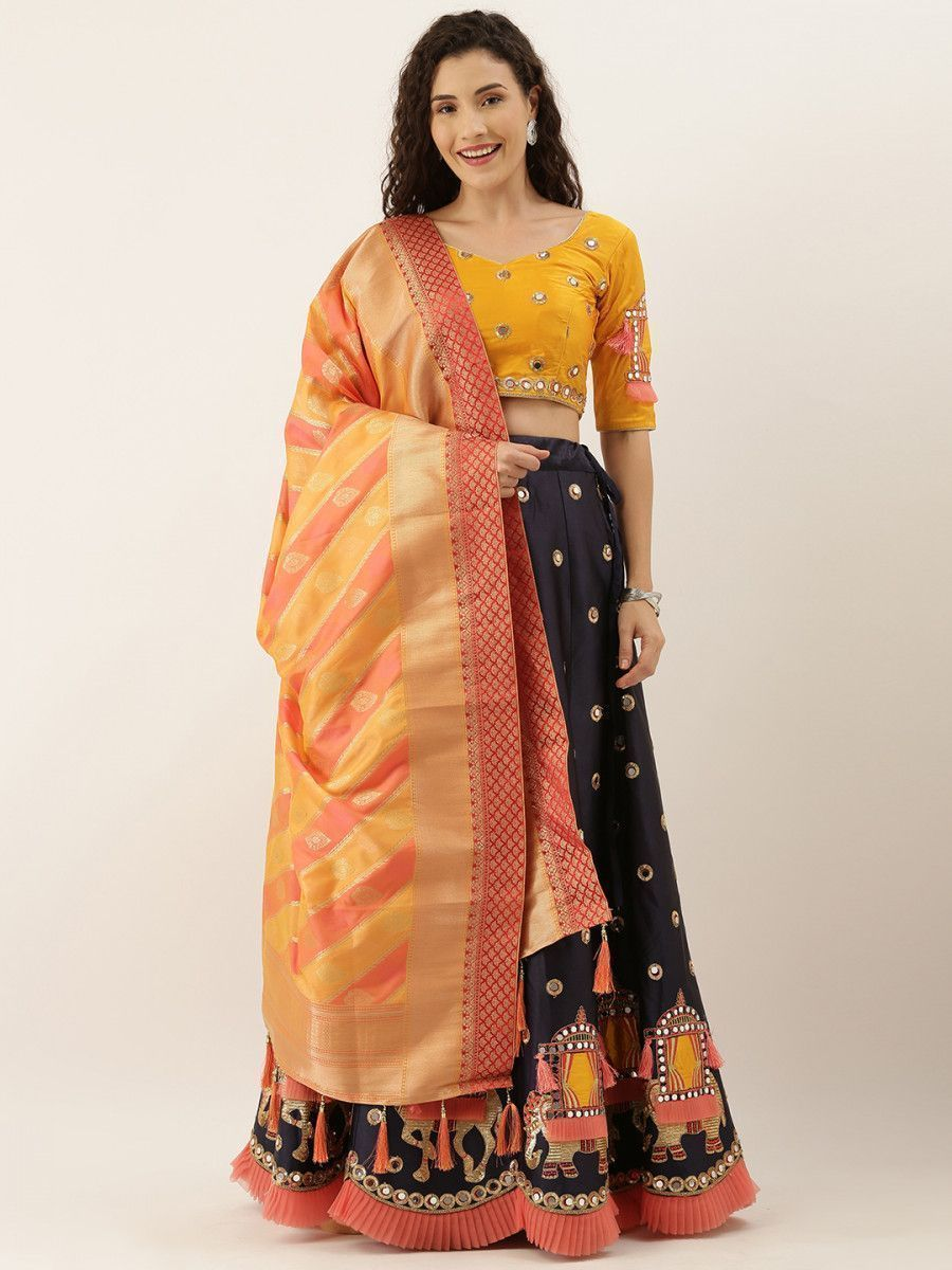 Navy Blue & Yellow Embellished Semi-Stitched Myntra Lehenga & Unstitched Blouse with Dupatta