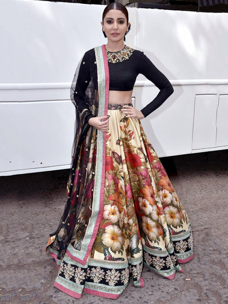 Anushka Sharma Colorful Floral Printed Velvet Blouse Wedding Lehenga Choli